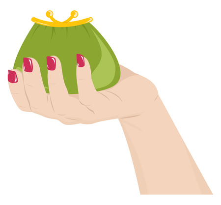 Una mano femenina que sostiene un monedero verde. ilustración vectorial