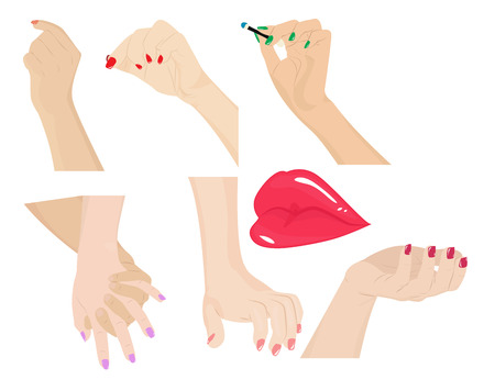 female hands: Set of body parts. Female hands, different gestures and lips. Vector illustration