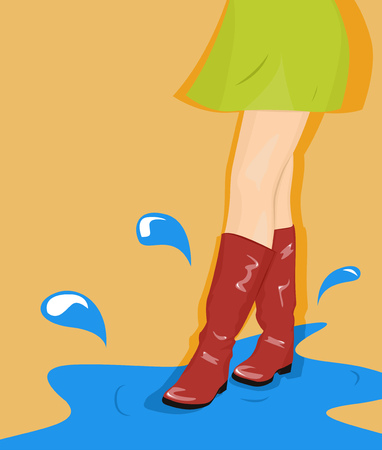 goes: Girl in a green skirt and red boots goes through the puddles. Vector illustration