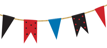 banderas y banderines de colores en una cuerda. ilustración vectorial