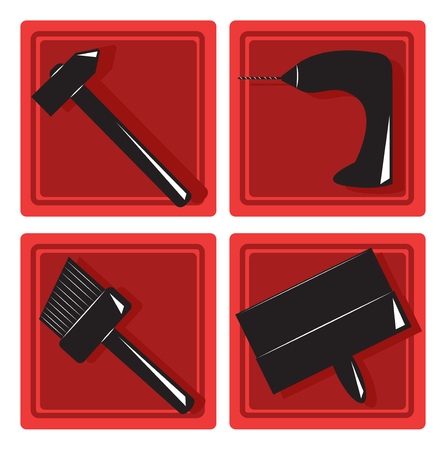 putty knife: Icon set in flat style. Building tools. Vector illustration