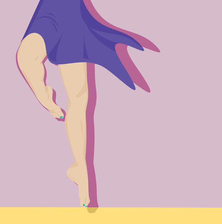 female legs: Beautiful female legs. Ballerina jumping. Vector illustration