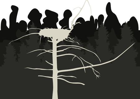 gnarled: Old gnarled tree with big nest on a background of dense dark forest. Vector illustration
