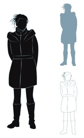 contours: A set of contours and silhouettes of a girl in a coat. Vector illustration