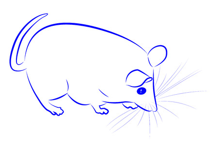plump: Blue contour cute plump mouse. Vector illustration