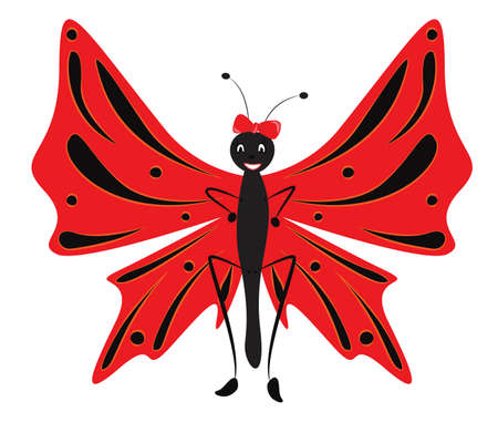 butterfly bow: Funny cartoon butterfly with red bow and wings. Vector illustration