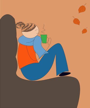 sitting sofa: Sad girl sitting on a soft sofa and drinking a hot drink Illustration