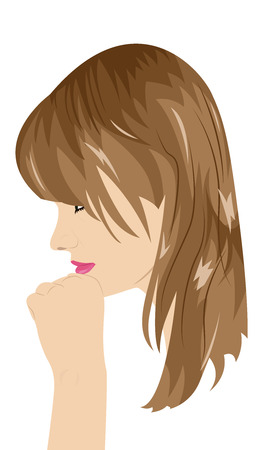 leans on hand: Portrait of a girl in profile. Girl leans her chin on hand. Vector illustration