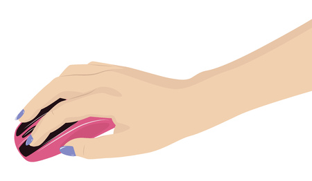 Female hand holding a pink computer mouse