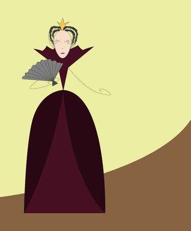 girl in burgundy dress: Strict Queen in burgundy dress with a fan. Simple vector illustration