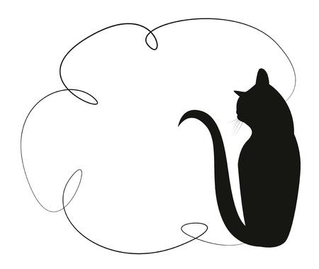 silueta de gato: Marco simple con un gato negro. Silueta de un gato que se sienta en la parte posterior. ilustración vectorial Vectores