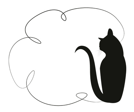 animal silhouette: Simple frame with a black cat. Silhouette of a cat sitting in the back. Vector illustration