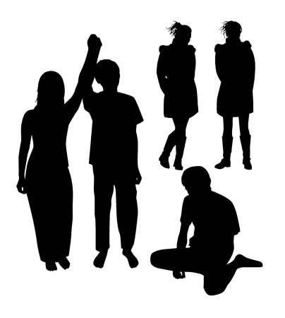 staying in shape: A set of silhouettes of young people. Vector illustration Illustration