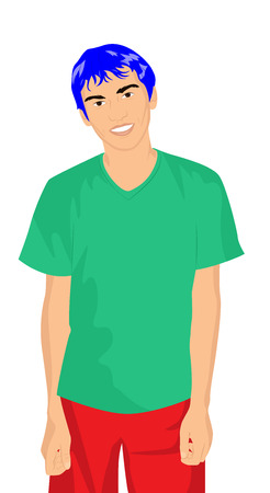 t shirt blue: Portrait of a modern guy with blue hair in bright clothes. Vector illustration Illustration