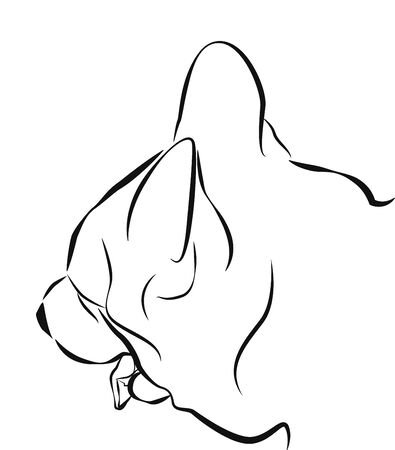 sketch out: Dog head with his tongue hanging out. Simple sketch. Illustration