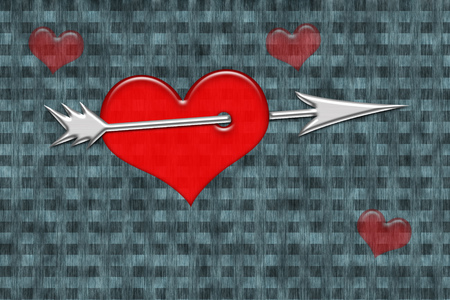 pierced: Red heart pierced by silver arrow on checkered grunge background