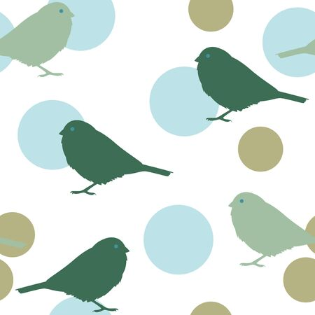 sparrows: Seamless pattern with sparrows and circles. illustration
