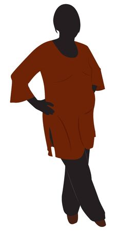 tunic: Silhouette of a pregnant woman in a brown tunic. illustration Illustration