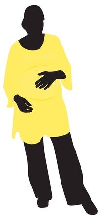 her: Pregnant woman holding her hand on her belly. illustration Illustration