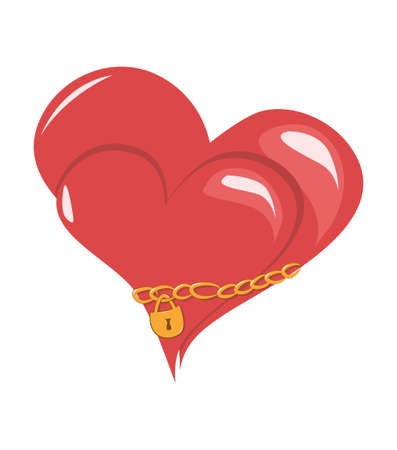 linked: Two hearts linked together by a gold chain. Vector illustration Illustration