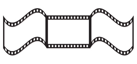 Empty curved frames of film. illustration