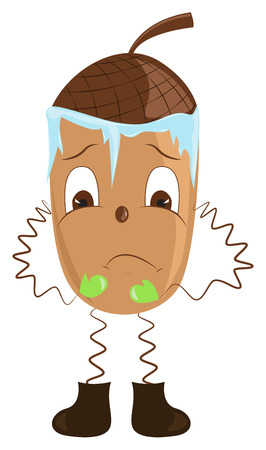 Cartoon acorn shivering from the cold. illustration