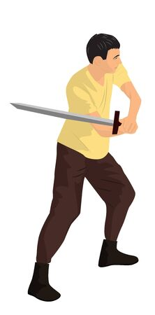 A young warrior with a sword. Cartoon illustration