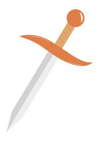 dagger: Steel arms. Simple cartoon dagger. illustration