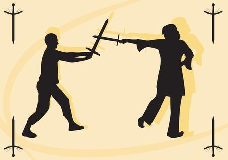 swordsman: Silhouettes swordsman and swordswoman. Fight on swords. illustration