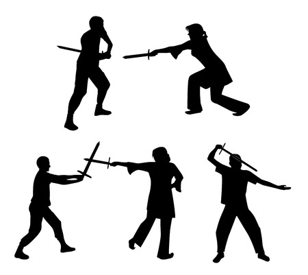 swordsman: A set of silhouettes of people fighting with swords. illustration Illustration