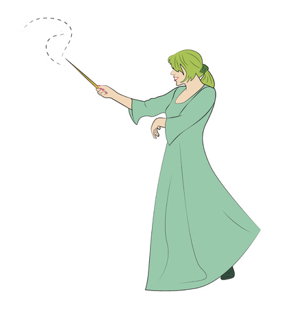 girl magic wand: The girl with a magic wand creates magic.  illustration