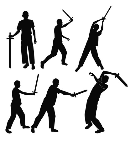 Set swordsman silhouettes in different poses. illustration