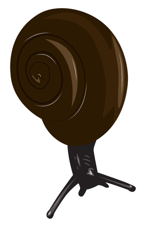 Black snail with a brown shell. Cartoon vector illustration Illustration