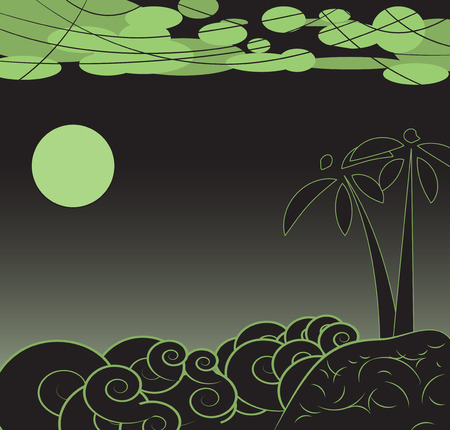 Night landscape. Full moon, sea and island with palm trees. Vector illustration Illustration