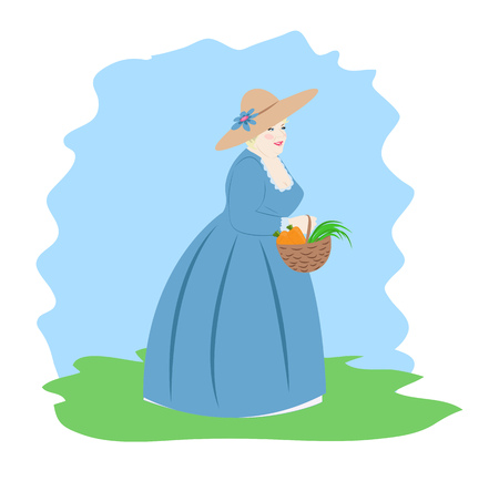 Lady in medieval dress is holding a basket of vegetables and herbs. Vector illustration Illustration
