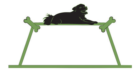 Silhouette of a small black dog on the green frame. Vector illustration Illustration