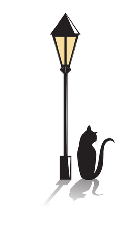 Black cat sits under a street lantern. Vector illustration