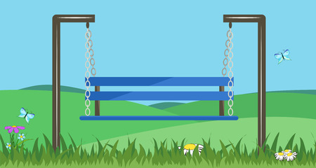 Blue bench-swing in the grass and flowers. Vector illustration