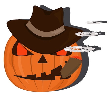 Halloween pumpkin in gangster hat smoking a cigar. Vector illustration
