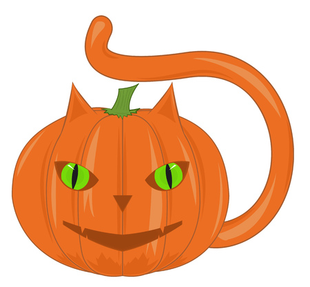 Pumpkin - a cat with green eyes. Cartoon vector illustration