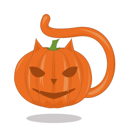 Pumpkin - a cat with a shadow. Cartoon vector illustration