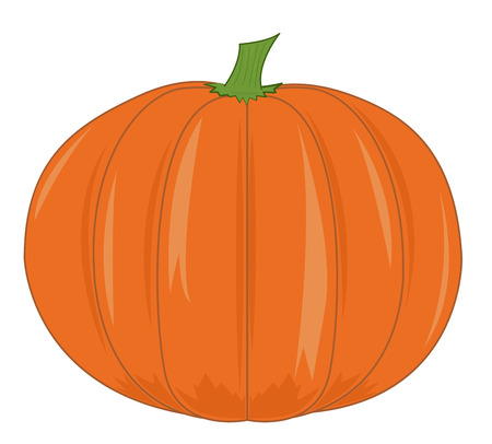 Large ripe orange pumpkin. Cartoon vector illustration Illustration