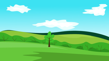 Simple vector landscape. Blue sky, green meadows and tree Illustration