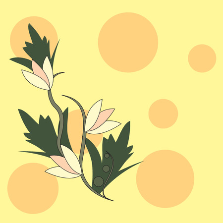 Yellow background with an abstract floral pattern. Vector illustration