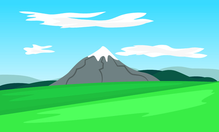 Simple landscape with a mountain. Vector illustration