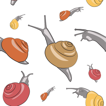 Background with snails with shells of different colors. Seamless pattern. Vector illustration