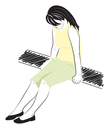 Sad girl sitting on a bench. Vector illustration