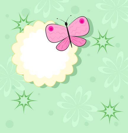 Pink butterfly sits on the edge of the yellow frame. Green background. Vector illustration