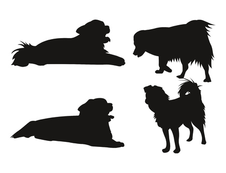 Four isolated black silhouette of dog. Vector illustration