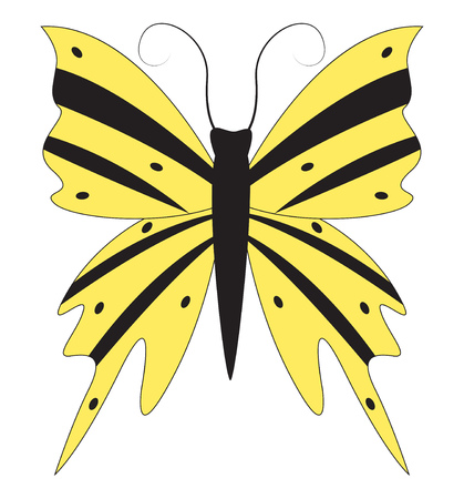 Abstract beautiful yellow butterfly with stripes and dots on the wings. Vector illustration